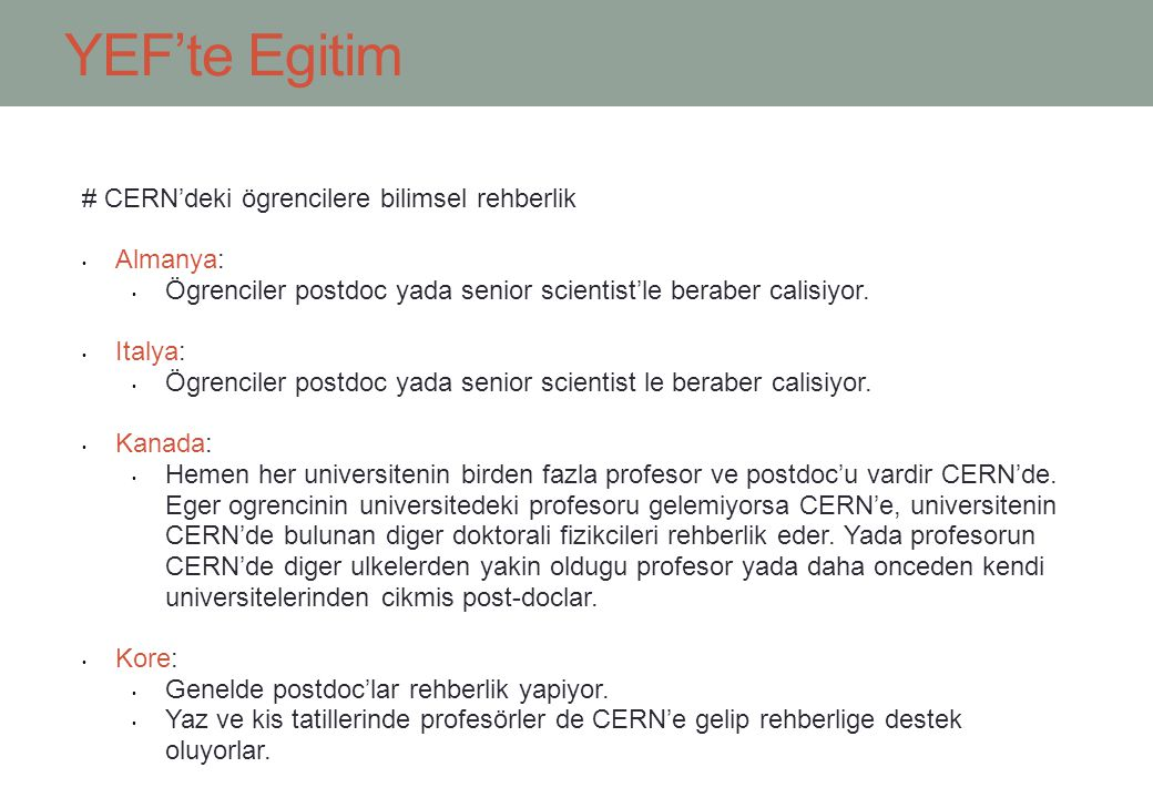 YEF'te Egitim # CERN'deki ögrencilere bilimsel rehberlik Almanya: Ögrenciler postdoc yada senior scientist'le beraber calisiyor.