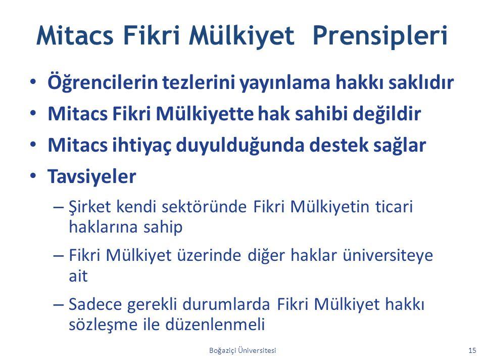Mitacs Fikri Mülkiyet Prensipleri Öğrencilerin tezlerini yayınlama hakkı saklıdır Mitacs Fikri Mülkiyette hak sahibi değildir Mitacs ihtiyaç duyulduğu