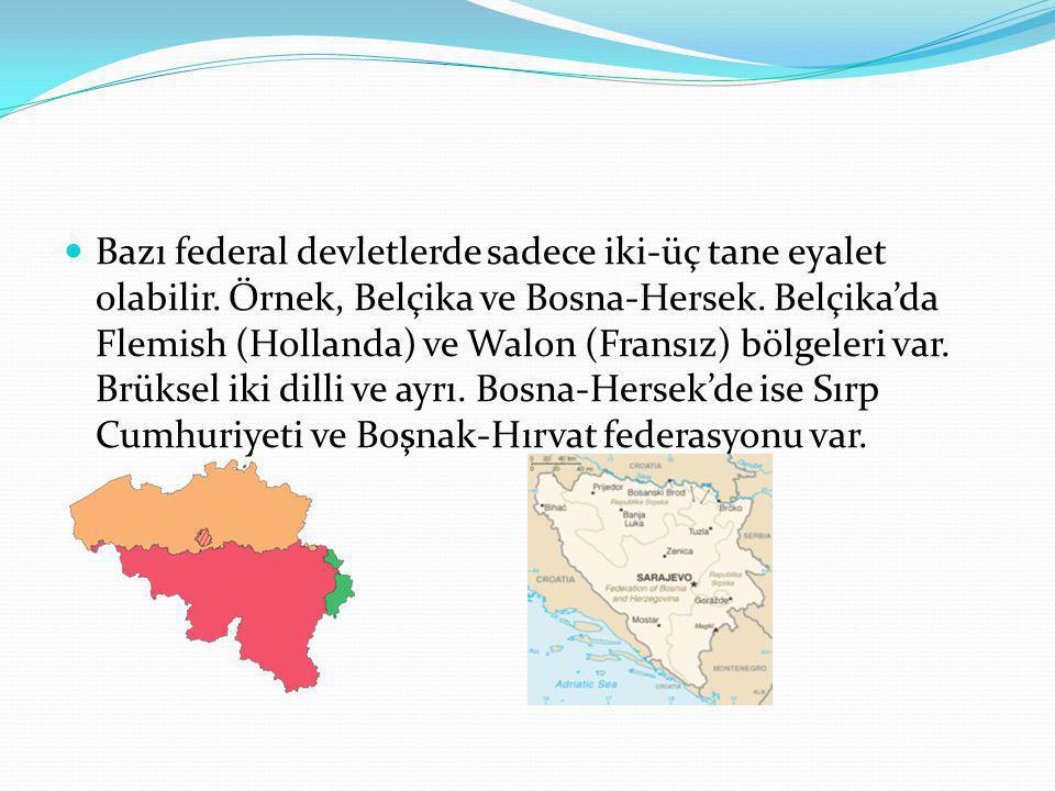 Bazı federal devletlerde sadece iki-üç tane eyalet olabilir. Örnek, Belçika ve Bosna-Hersek. Belçika'da Flemish (Hollanda) ve Walon (Fransız) bölgeler