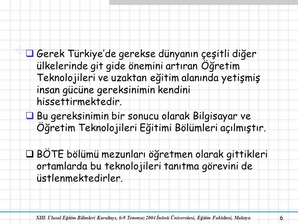 XIII. Ulusal Eğitim Bilimleri Kurultayı, 6-9 Temmuz 2004 İnönü Üniversitesi, Eğitim Fakültesi, Malatya 6  Gerek Türkiye'de gerekse dünyanın çeşitli d