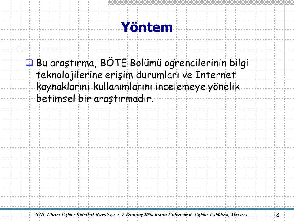XIII. Ulusal Eğitim Bilimleri Kurultayı, 6-9 Temmuz 2004 İnönü Üniversitesi, Eğitim Fakültesi, Malatya 8 Yöntem  Bu araştırma, BÖTE Bölümü öğrenciler
