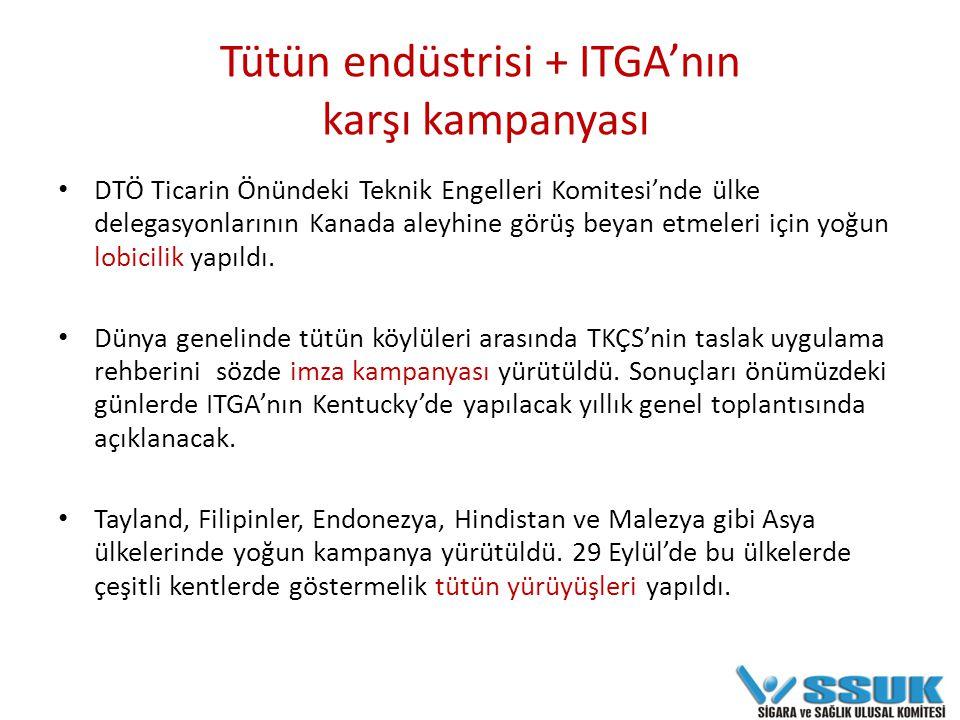 Tütün endüstrisi + ITGA'nın karşı kampanyası DTÖ Ticarin Önündeki Teknik Engelleri Komitesi'nde ülke delegasyonlarının Kanada aleyhine görüş beyan etmeleri için yoğun lobicilik yapıldı.