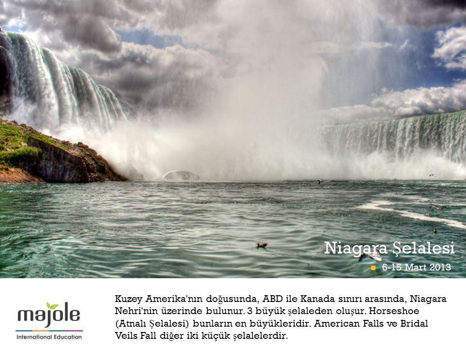 + Niagara Ş elalesi Kuzey Amerika'nın do ğ usunda, ABD ile Kanada sınırı arasında, Niagara Nehri'nin üzerinde bulunur. 3 büyük ş elaleden olu ş ur. Ho