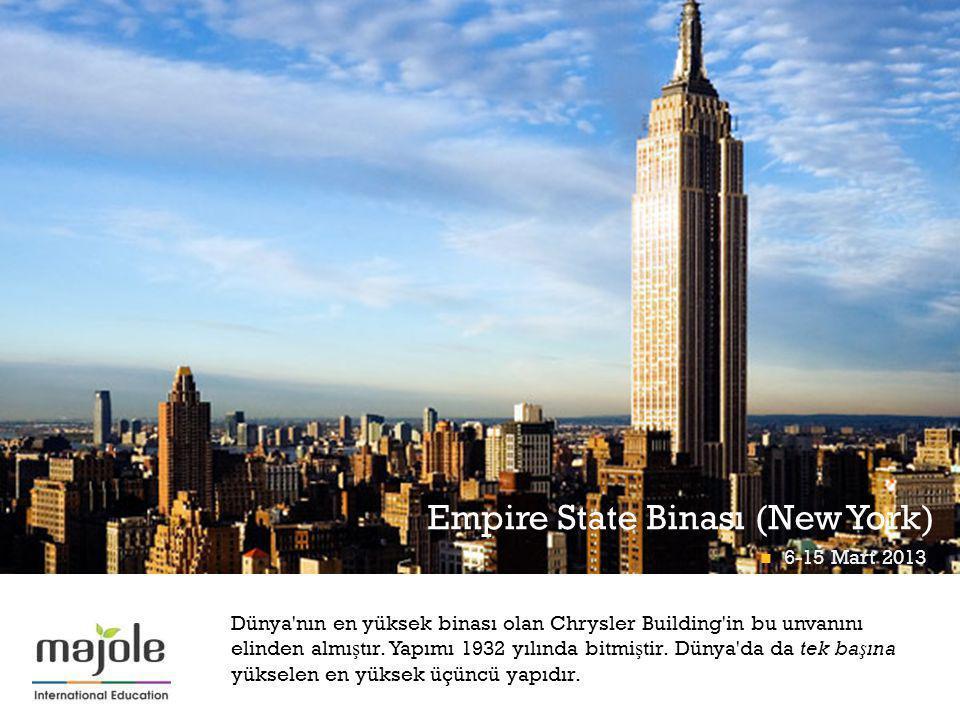 + Dünya nın en yüksek binası olan Chrysler Building in bu unvanını elinden almı ş tır.