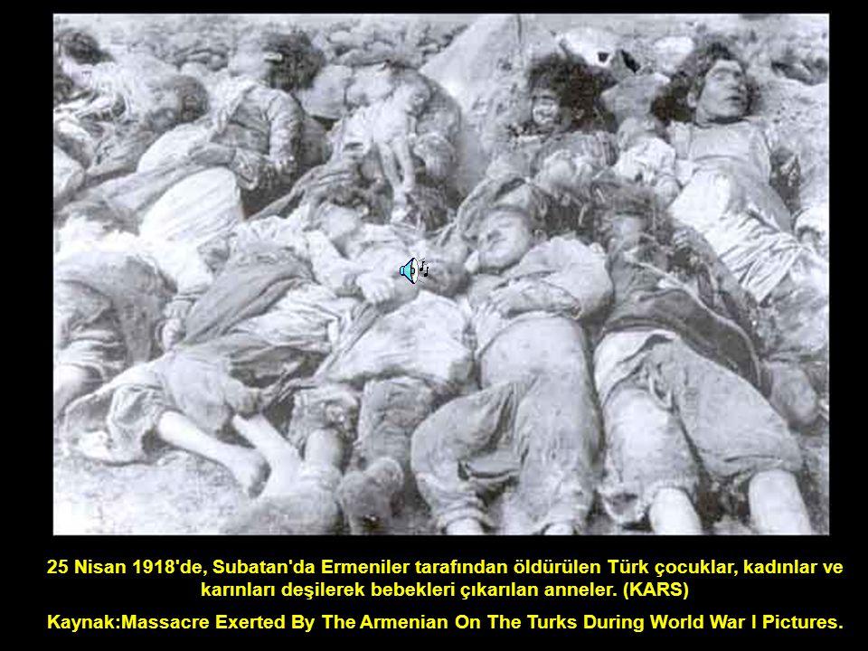 25 Nisan 1918'de, Subatan'da Ermeniler tarafından öldürülen Türk çocuklar, kadınlar ve karınları deşilerek bebekleri çıkarılan anneler. (KARS) Kaynak: