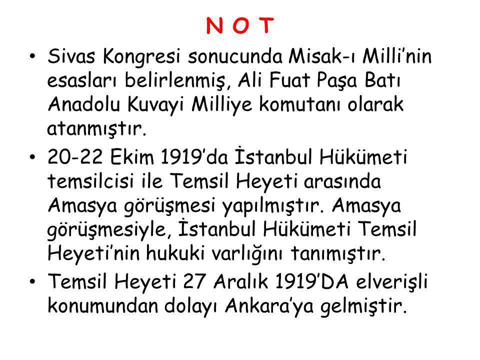 N O T Sivas Kongresi sonucunda Misak-ı Milli'nin esasları belirlenmiş, Ali Fuat Paşa Batı Anadolu Kuvayi Milliye komutanı olarak atanmıştır. 20-22 Eki