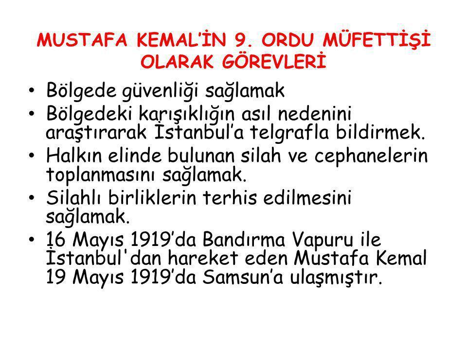 Bölgede güvenliği sağlamak Bölgedeki karışıklığın asıl nedenini araştırarak İstanbul'a telgrafla bildirmek. Halkın elinde bulunan silah ve cephaneleri