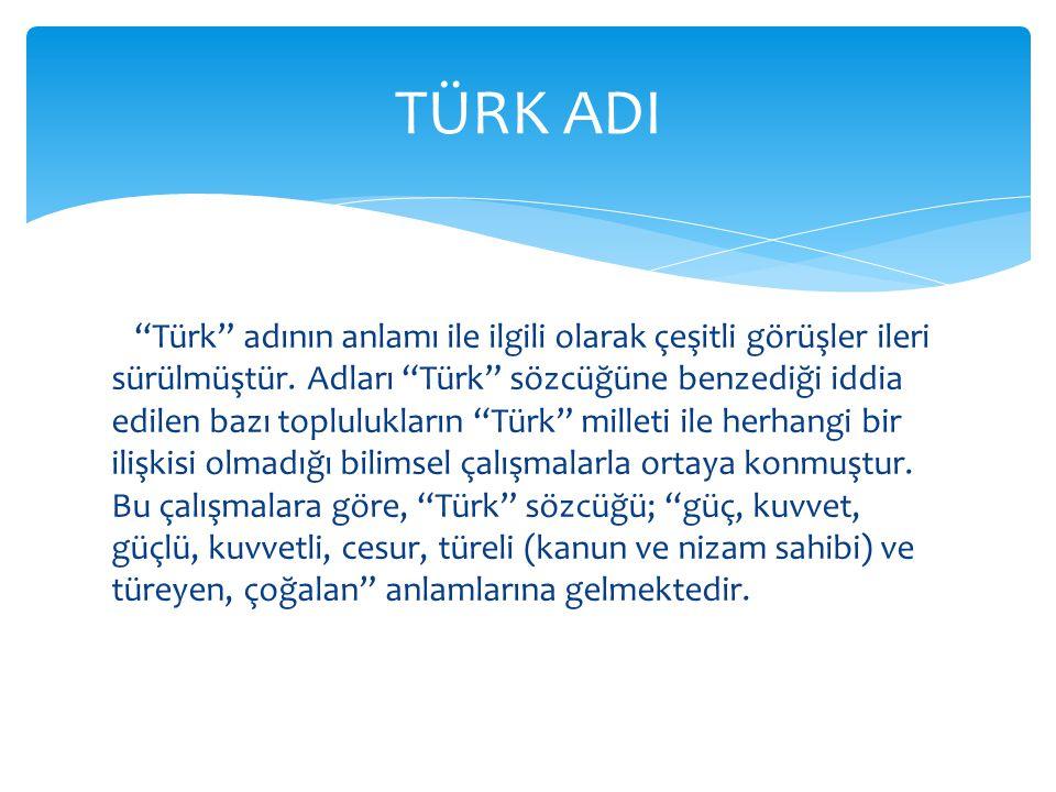 Türk adının anlamı ile ilgili olarak çeşitli görüşler ileri sürülmüştür.