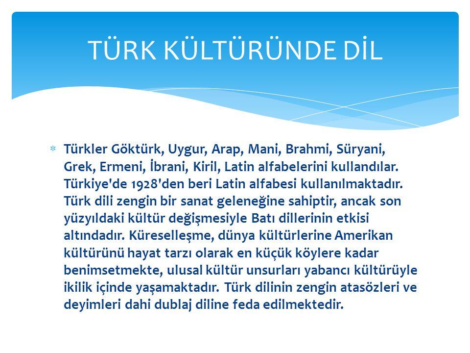  Türkler Göktürk, Uygur, Arap, Mani, Brahmi, Süryani, Grek, Ermeni, İbrani, Kiril, Latin alfabelerini kullandılar.
