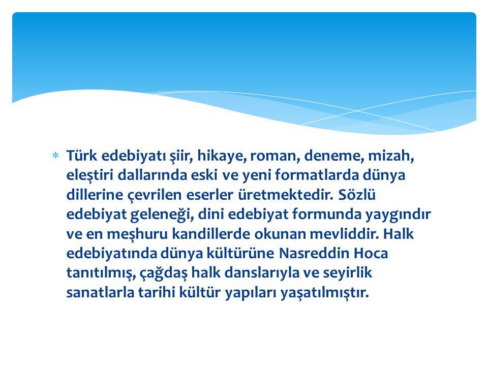 Türk edebiyatı şiir, hikaye, roman, deneme, mizah, eleştiri dallarında eski ve yeni formatlarda dünya dillerine çevrilen eserler üretmektedir.