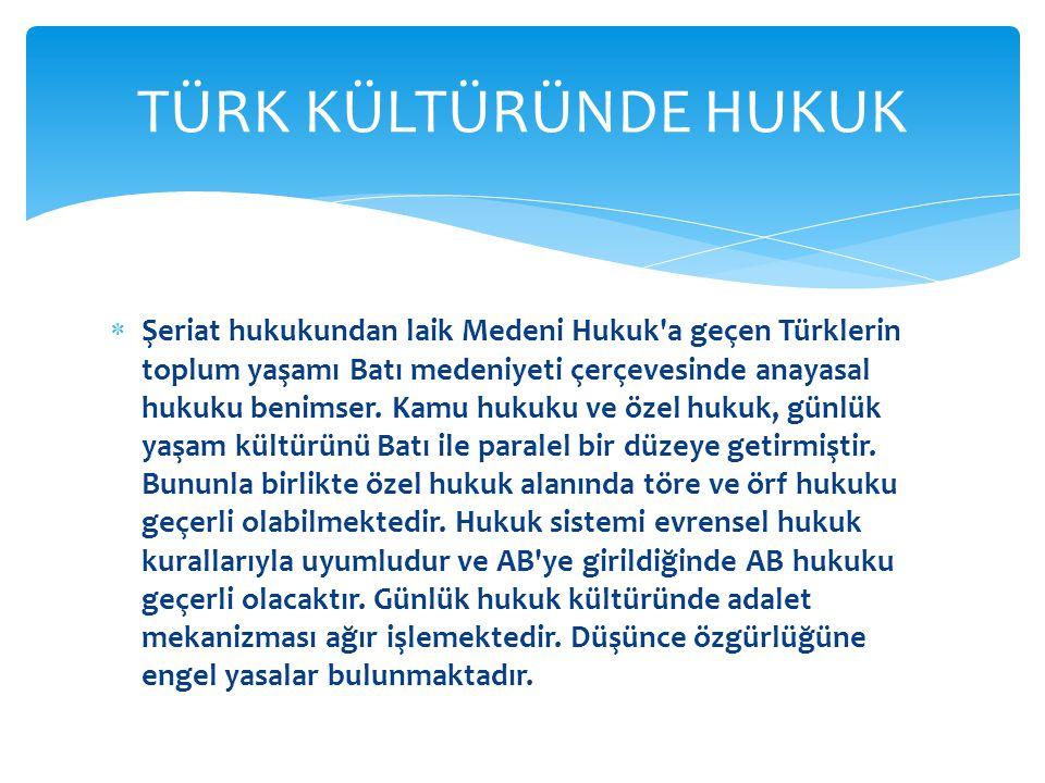  Şeriat hukukundan laik Medeni Hukuk a geçen Türklerin toplum yaşamı Batı medeniyeti çerçevesinde anayasal hukuku benimser.