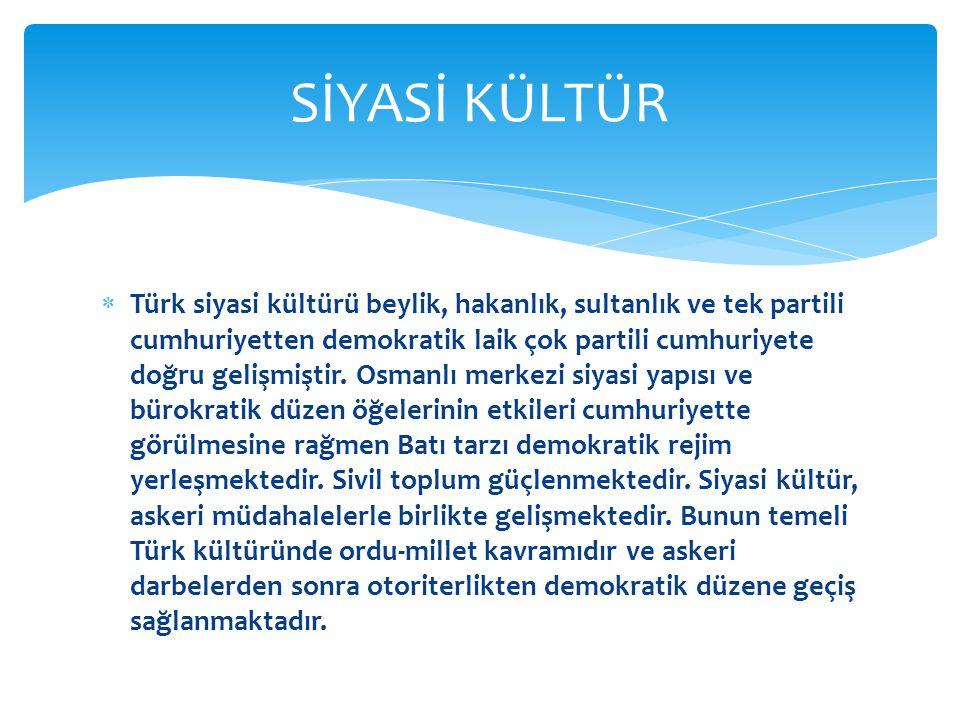  Türk siyasi kültürü beylik, hakanlık, sultanlık ve tek partili cumhuriyetten demokratik laik çok partili cumhuriyete doğru gelişmiştir.