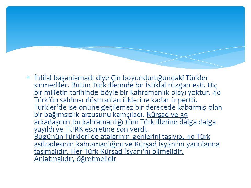  İhtilal başarılamadı diye Çin boyunduruğundaki Türkler sinmediler.