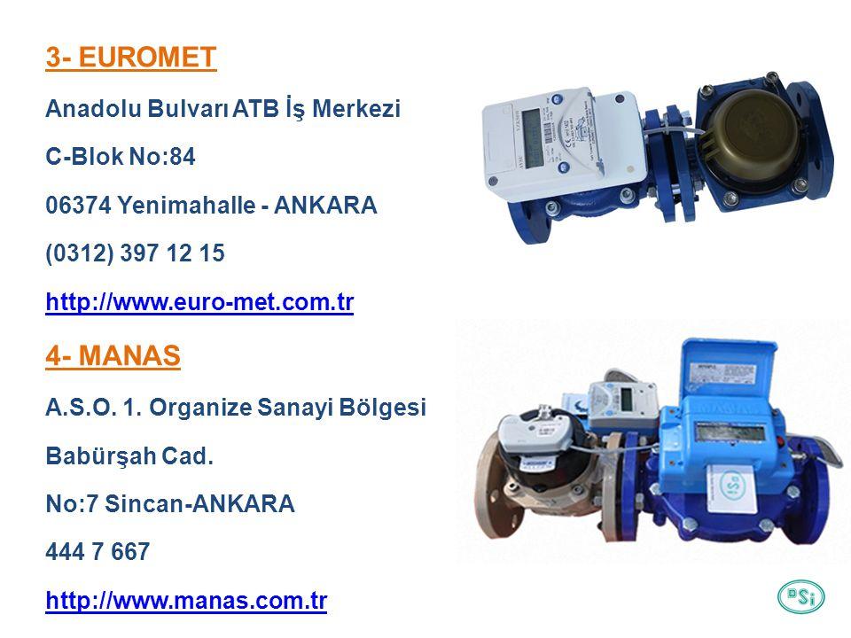 3- EUROMET Anadolu Bulvarı ATB İş Merkezi C-Blok No:84 06374 Yenimahalle - ANKARA (0312) 397 12 15 http://www.euro-met.com.tr 4- MANAS A.S.O.