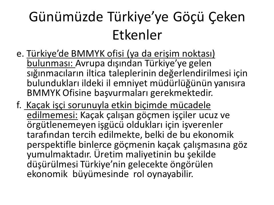 Günümüzde Türkiye'ye Göçü Çeken Etkenler e.