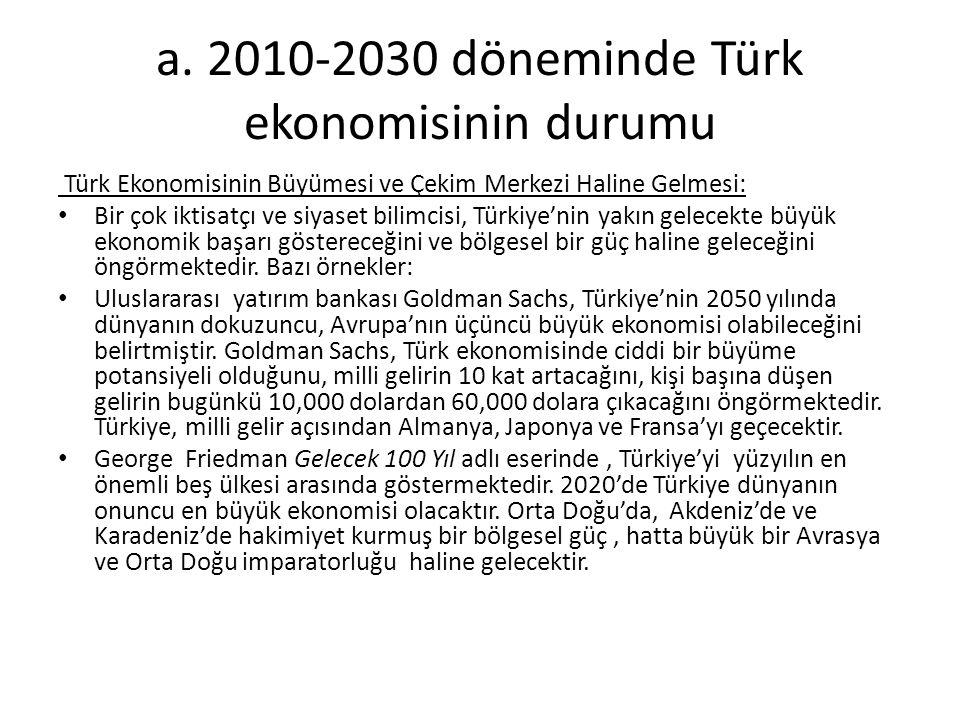 a. 2010-2030 döneminde Türk ekonomisinin durumu Türk Ekonomisinin Büyümesi ve Çekim Merkezi Haline Gelmesi: Bir çok iktisatçı ve siyaset bilimcisi, Tü