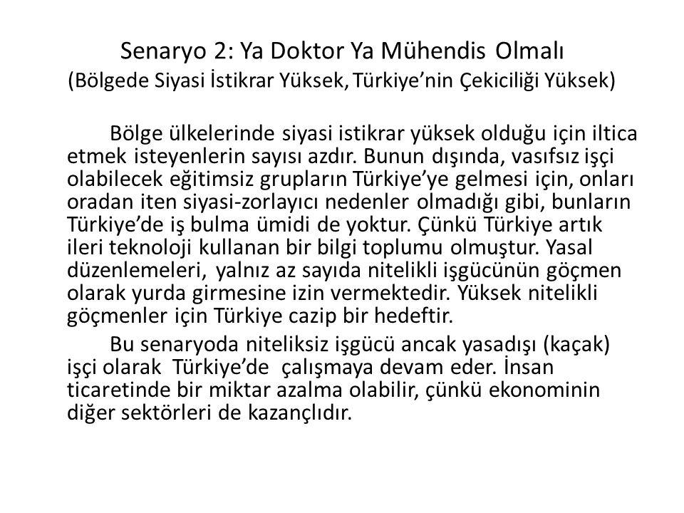 Senaryo 2: Ya Doktor Ya Mühendis Olmalı (Bölgede Siyasi İstikrar Yüksek, Türkiye'nin Çekiciliği Yüksek) Bölge ülkelerinde siyasi istikrar yüksek olduğu için iltica etmek isteyenlerin sayısı azdır.