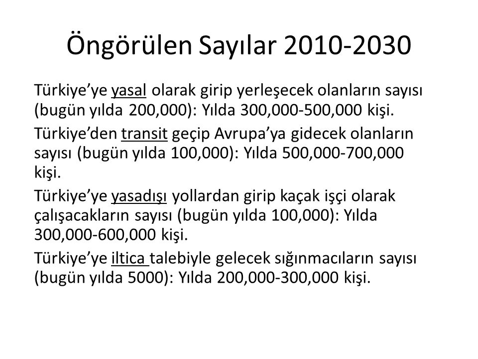 Öngörülen Sayılar 2010-2030 Türkiye'ye yasal olarak girip yerleşecek olanların sayısı (bugün yılda 200,000): Yılda 300,000-500,000 kişi.