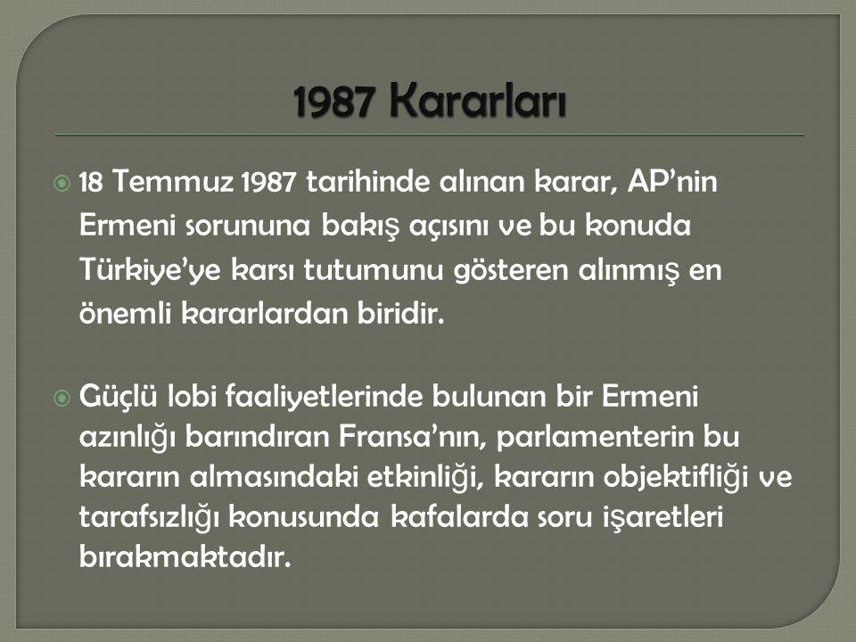  18 Temmuz 1987 tarihinde alınan karar, AP'nin Ermeni sorununa bakı ş açısını ve bu konuda Türkiye'ye karsı tutumunu gösteren alınmı ş en önemli kara