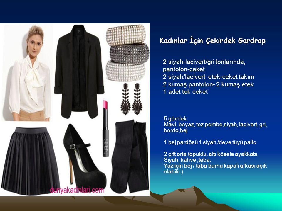 Kadınlar İçin Çekirdek Gardrop 2 siyah-lacivert/gri tonlarında, pantolon-ceket 2 siyah/lacivert etek-ceket takım 2 kumaş pantolon- 2 kumaş etek 1 adet