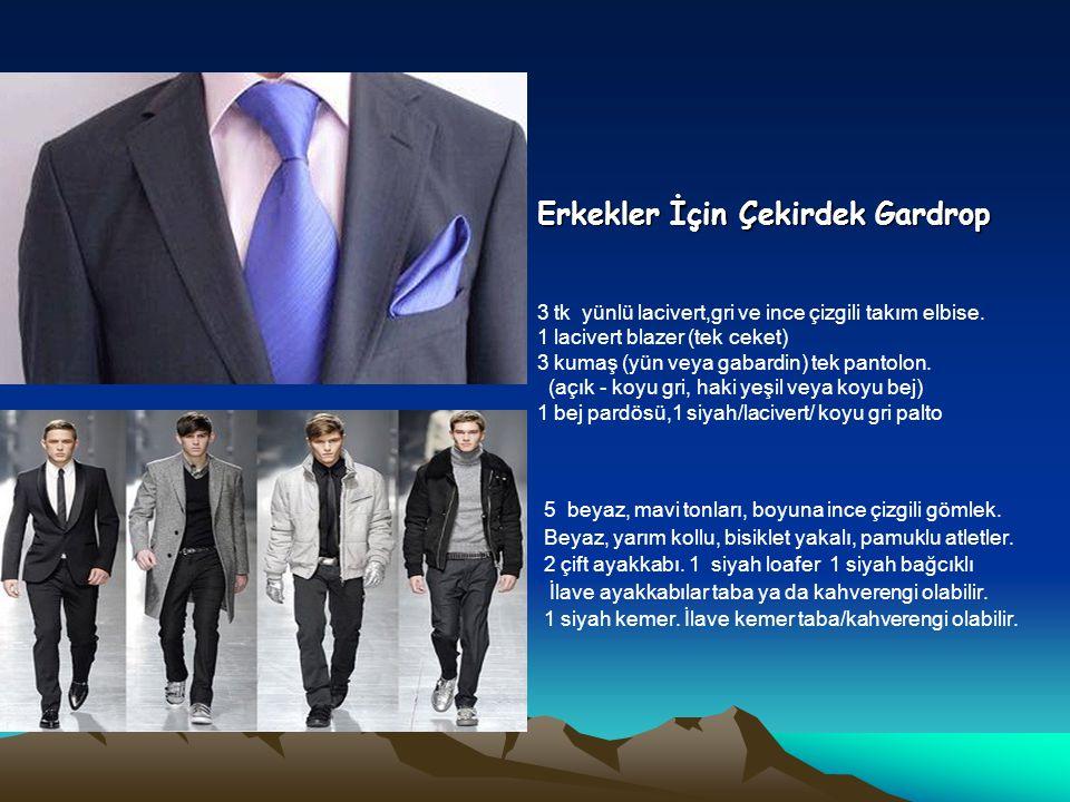 Erkekler İçin Çekirdek Gardrop 3 tk yünlü lacivert,gri ve ince çizgili takım elbise. 1 lacivert blazer (tek ceket) 3 kumaş (yün veya gabardin) tek pan