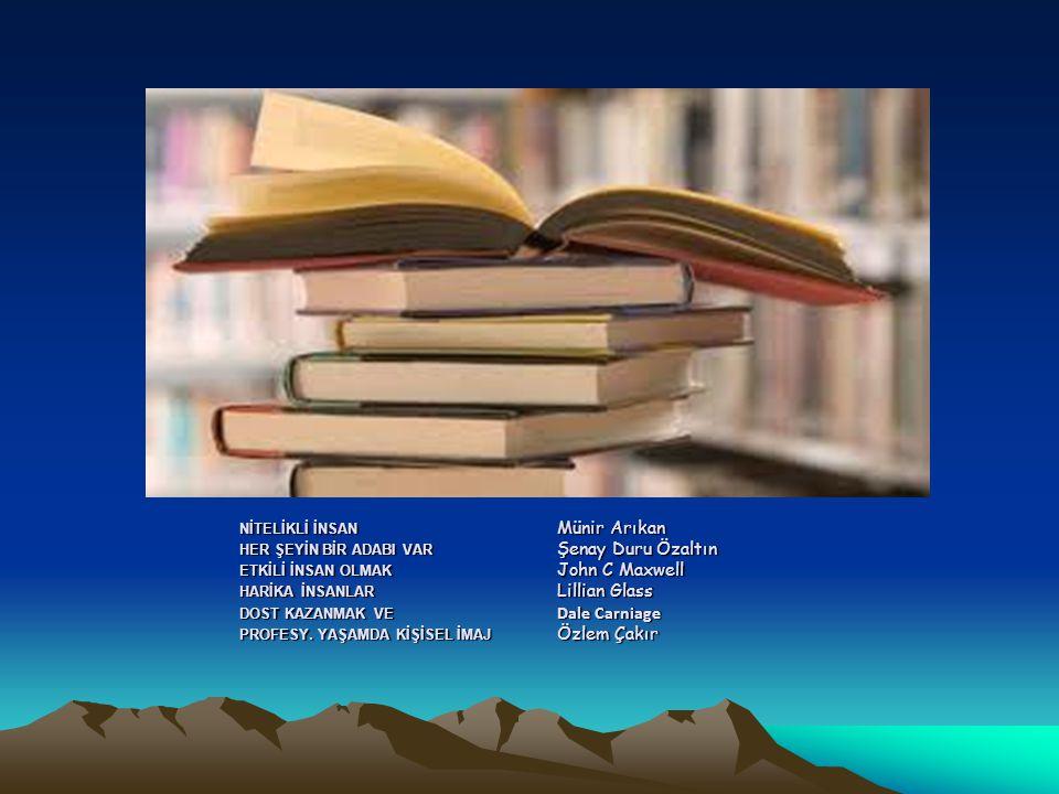 NİTELİKLİ İNSAN Münir Arıkan HER ŞEYİN BİR ADABI VAR Şenay Duru Özaltın ETKİLİ İNSAN OLMAK John C Maxwell HARİKA İNSANLAR Lillian Glass DOST KAZANMAK