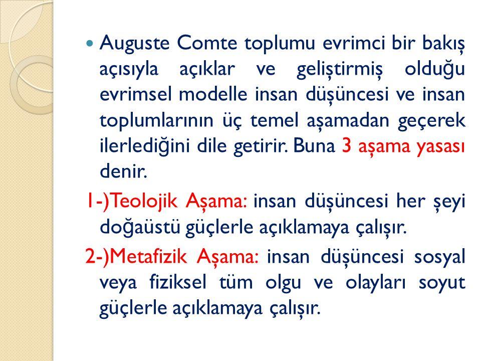 Auguste Comte toplumu evrimci bir bakış açısıyla açıklar ve geliştirmiş oldu ğ u evrimsel modelle insan düşüncesi ve insan toplumlarının üç temel aşamadan geçerek ilerledi ğ ini dile getirir.