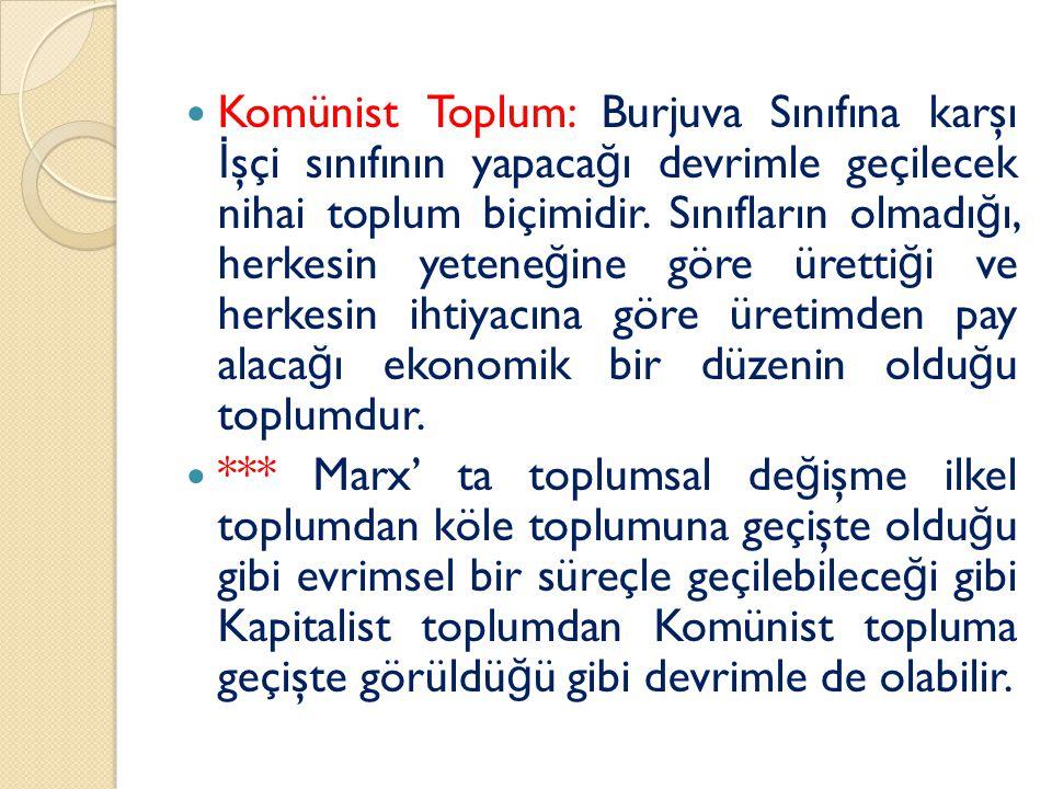 Komünist Toplum: Burjuva Sınıfına karşı İ şçi sınıfının yapaca ğ ı devrimle geçilecek nihai toplum biçimidir.