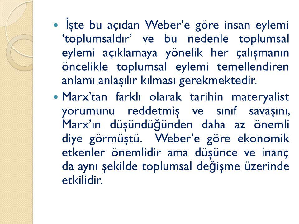 İ şte bu açıdan Weber'e göre insan eylemi 'toplumsaldır' ve bu nedenle toplumsal eylemi açıklamaya yönelik her çalışmanın öncelikle toplumsal eylemi temellendiren anlamı anlaşılır kılması gerekmektedir.