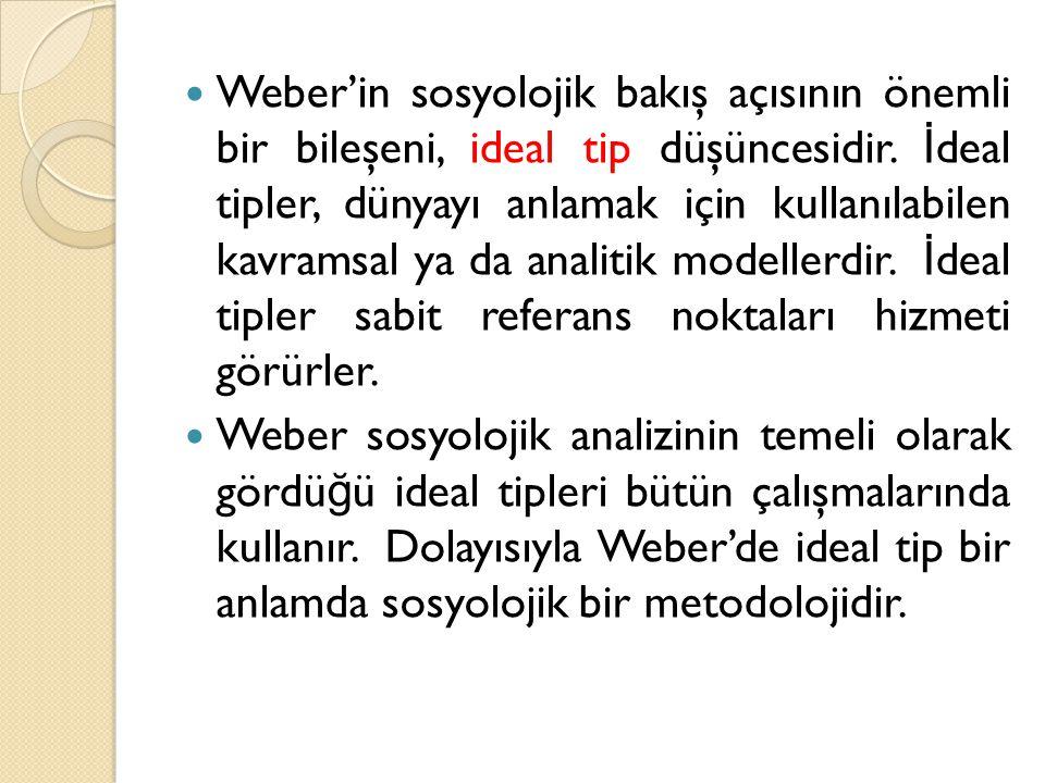 Weber'in sosyolojik bakış açısının önemli bir bileşeni, ideal tip düşüncesidir.
