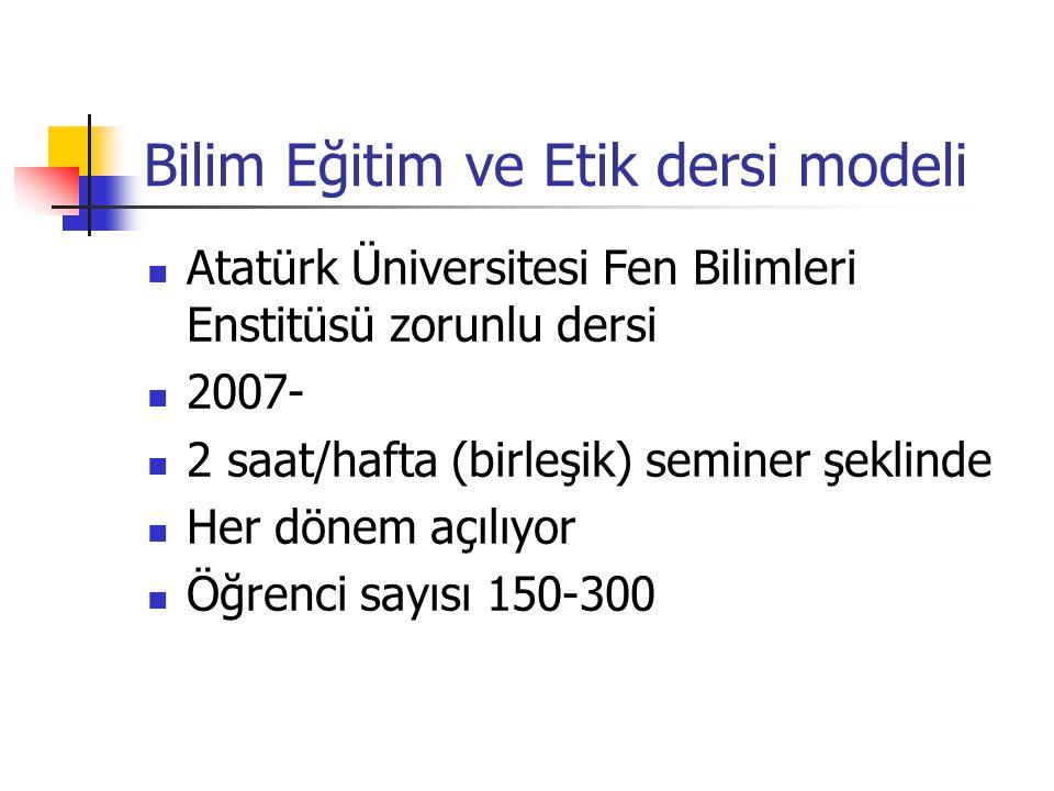 Bilim Eğitim ve Etik dersi modeli Atatürk Üniversitesi Fen Bilimleri Enstitüsü zorunlu dersi 2007- 2 saat/hafta (birleşik) seminer şeklinde Her dönem açılıyor Öğrenci sayısı 150-300