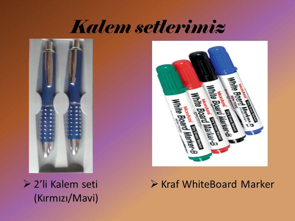 Kalem setlerimiz  2'li Kalem seti (Kırmızı/Mavi)  Kraf WhiteBoard Marker