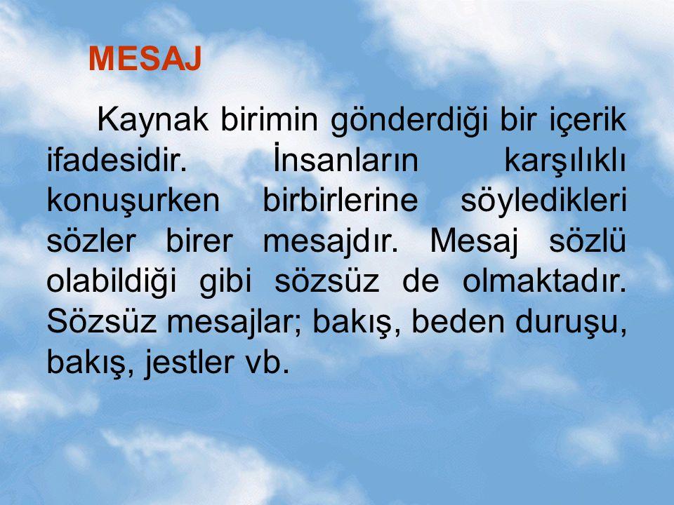 MESAJ Kaynak birimin gönderdiği bir içerik ifadesidir. İnsanların karşılıklı konuşurken birbirlerine söyledikleri sözler birer mesajdır. Mesaj sözlü o