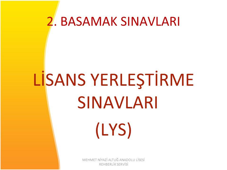 2. BASAMAK SINAVLARI LİSANS YERLEŞTİRME SINAVLARI (LYS)