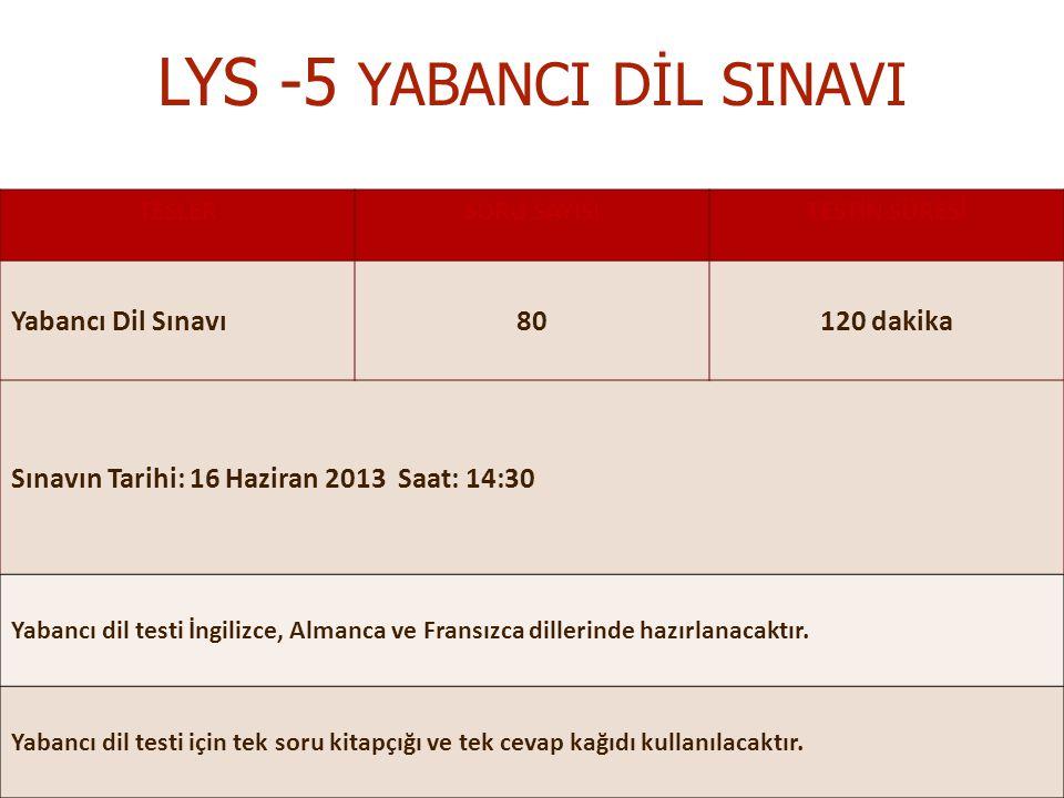 MEHMET NİYAZİ ALTUĞ ANADOLU LİSESİ REHBERLİK SERVİSİ LYS -5 YABANCI DİL SINAVI TESLERSORU SAYISITESTİN SÜRESİ Yabancı Dil Sınavı80120 dakika Sınavın Tarihi: 16 Haziran 2013 Saat: 14:30 Yabancı dil testi İngilizce, Almanca ve Fransızca dillerinde hazırlanacaktır.