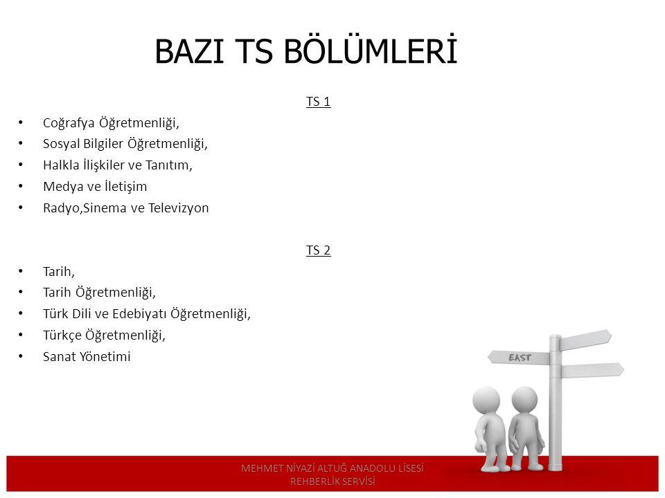BAZI TS BÖLÜMLERİ TS 1 Coğrafya Öğretmenliği, Sosyal Bilgiler Öğretmenliği, Halkla İlişkiler ve Tanıtım, Medya ve İletişim Radyo,Sinema ve Televizyon TS 2 Tarih, Tarih Öğretmenliği, Türk Dili ve Edebiyatı Öğretmenliği, Türkçe Öğretmenliği, Sanat Yönetimi MEHMET NİYAZİ ALTUĞ ANADOLU LİSESİ REHBERLİK SERVİSİ