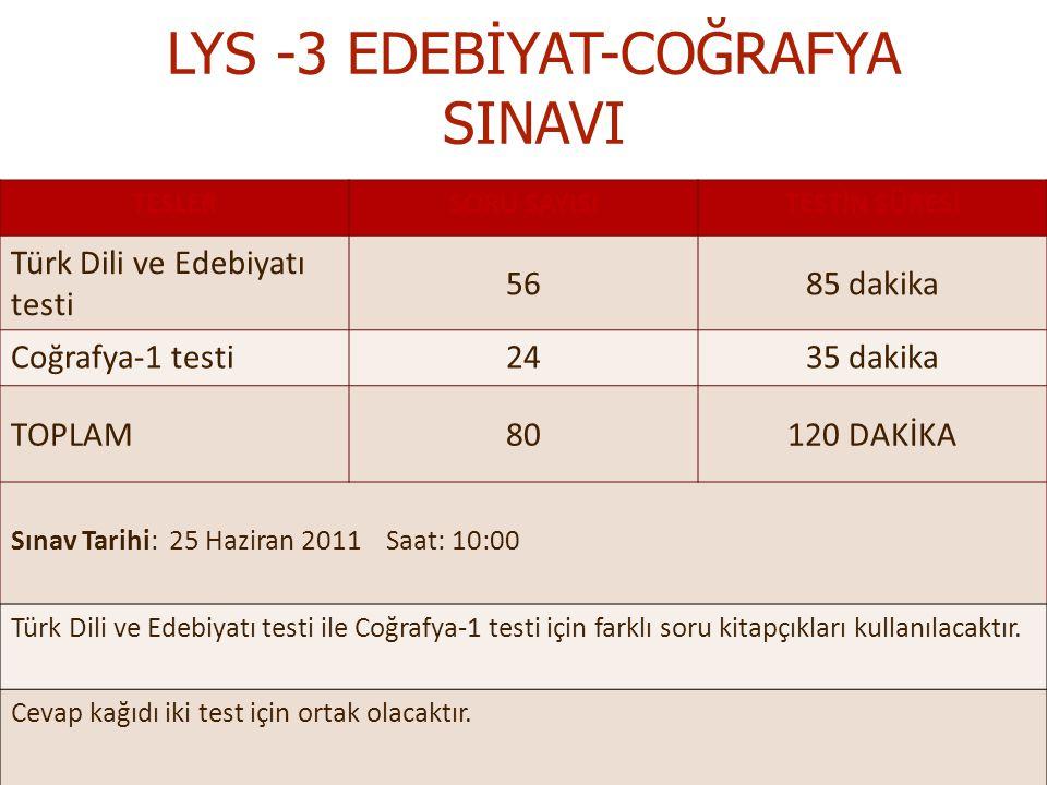 LYS -3 EDEBİYAT-COĞRAFYA SINAVI TESLERSORU SAYISITESTİN SÜRESİ Türk Dili ve Edebiyatı testi 5685 dakika Coğrafya-1 testi2435 dakika TOPLAM80120 DAKİKA Sınav Tarihi: 25 Haziran 2011 Saat: 10:00 Türk Dili ve Edebiyatı testi ile Coğrafya-1 testi için farklı soru kitapçıkları kullanılacaktır.