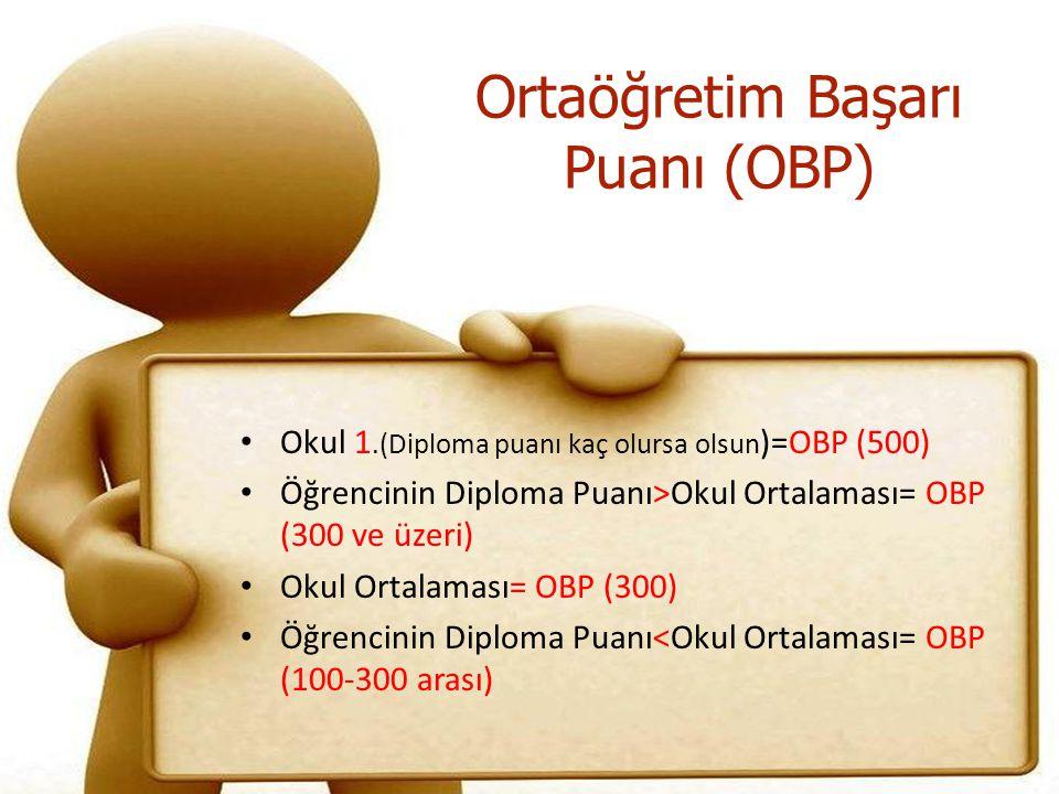 Ortaöğretim Başarı Puanı (OBP) Okul 1.(Diploma puanı kaç olursa olsun )=OBP (500) Öğrencinin Diploma Puanı>Okul Ortalaması= OBP (300 ve üzeri) Okul Ortalaması= OBP (300) Öğrencinin Diploma Puanı<Okul Ortalaması= OBP (100-300 arası)
