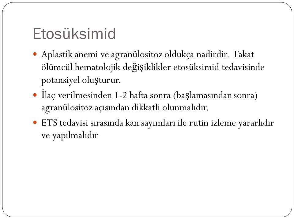 Etosüksimid Aplastik anemi ve agranülositoz oldukça nadirdir.