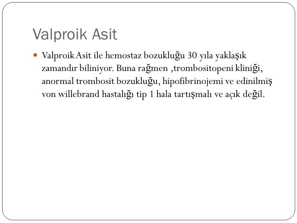 Valproik Asit Valproik Asit ile hemostaz bozuklu ğ u 30 yıla yakla ş ık zamandır biliniyor.