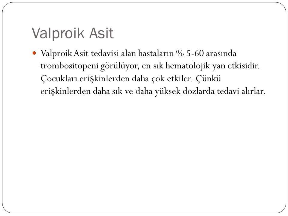 Valproik Asit Valproik Asit tedavisi alan hastaların % 5-60 arasında trombositopeni görülüyor, en sık hematolojik yan etkisidir.
