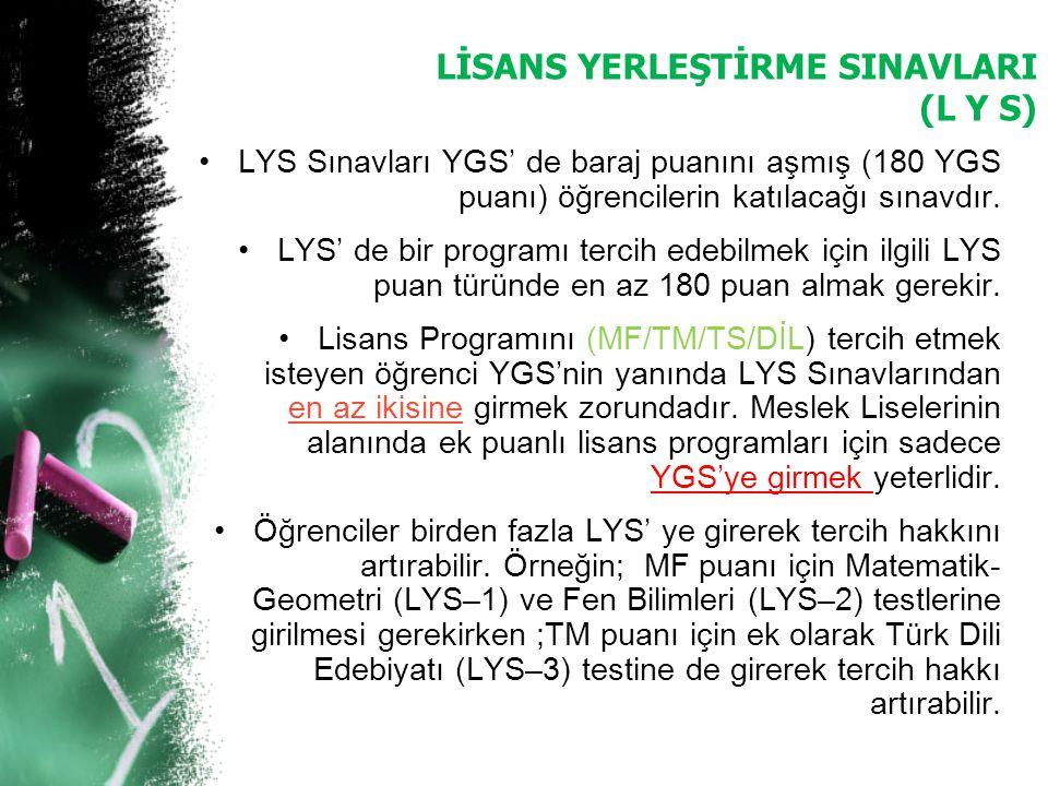 LİSANS YERLEŞTİRME SINAVLARI (L Y S) LYS Sınavları YGS' de baraj puanını aşmış (180 YGS puanı) öğrencilerin katılacağı sınavdır. LYS' de bir programı