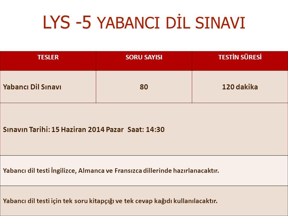LYS -5 YABANCI DİL SINAVI TESLERSORU SAYISITESTİN SÜRESİ Yabancı Dil Sınavı80120 dakika Sınavın Tarihi: 15 Haziran 2014 Pazar Saat: 14:30 Yabancı dil