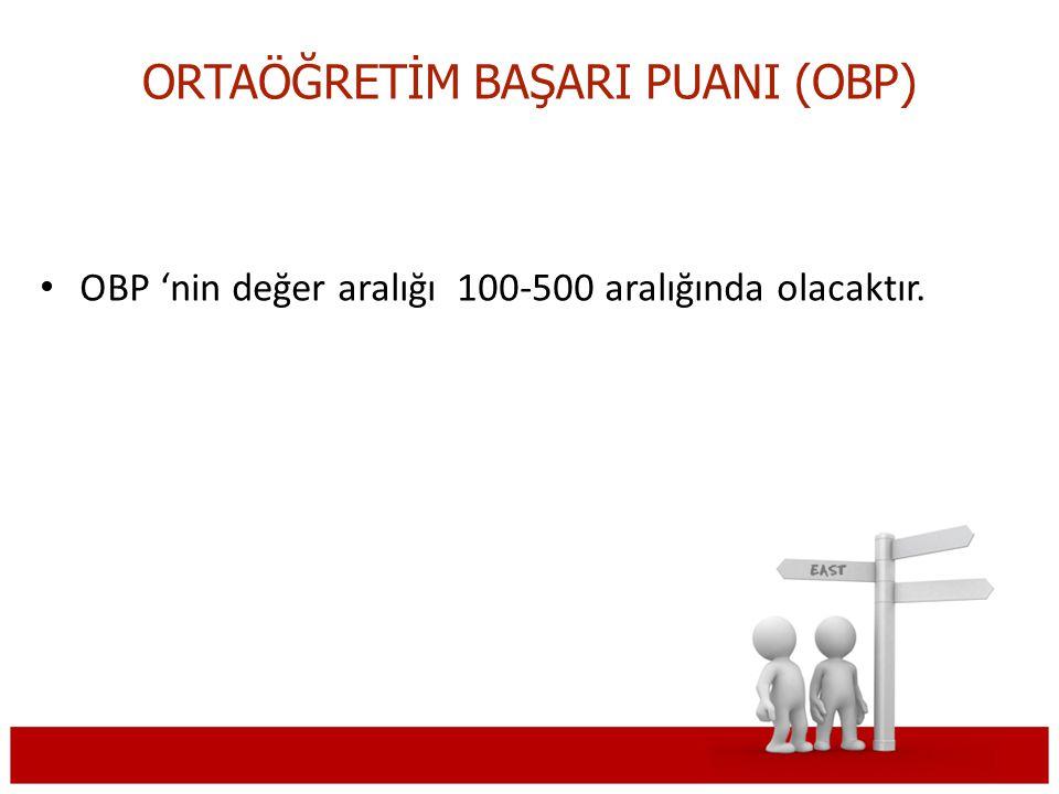 ORTAÖĞRETİM BAŞARI PUANI (OBP) OBP 'nin değer aralığı 100-500 aralığında olacaktır.