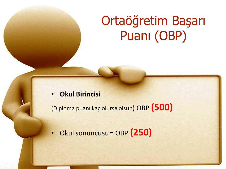 Okul Birincisi (Diploma puanı kaç olursa olsun ) OBP (500) Okul sonuncusu = OBP (250)