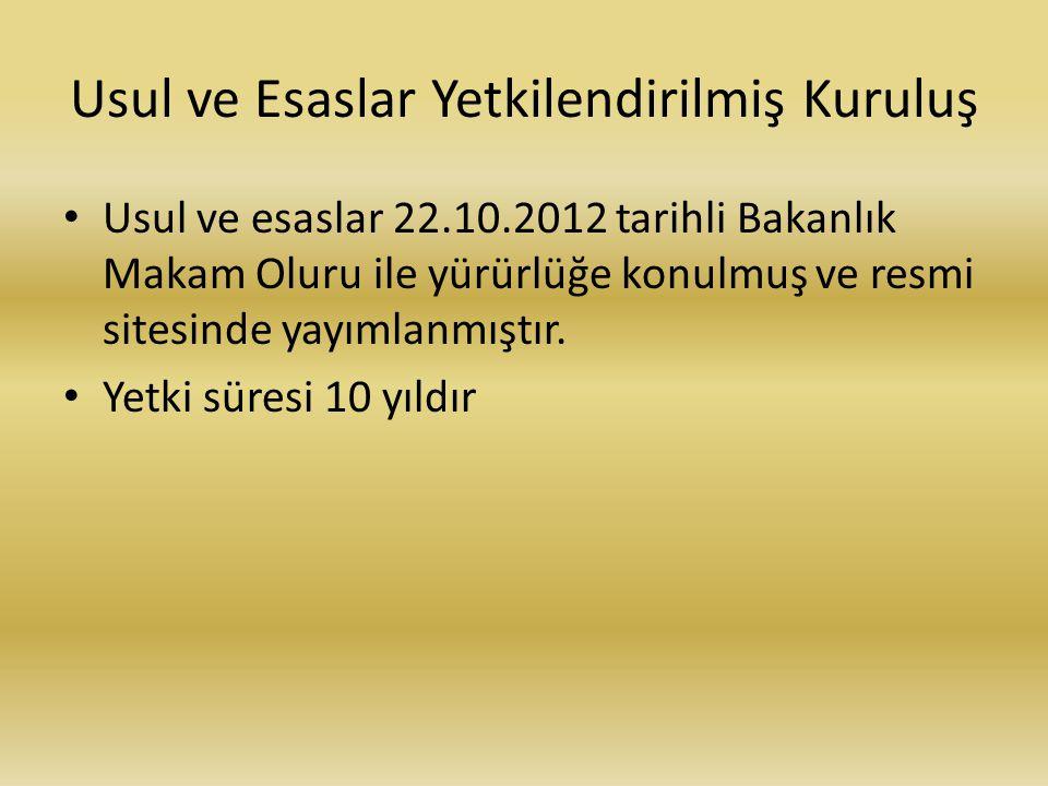 Usul ve Esaslar Yetkilendirilmiş Kuruluş Usul ve esaslar 22.10.2012 tarihli Bakanlık Makam Oluru ile yürürlüğe konulmuş ve resmi sitesinde yayımlanmıştır.