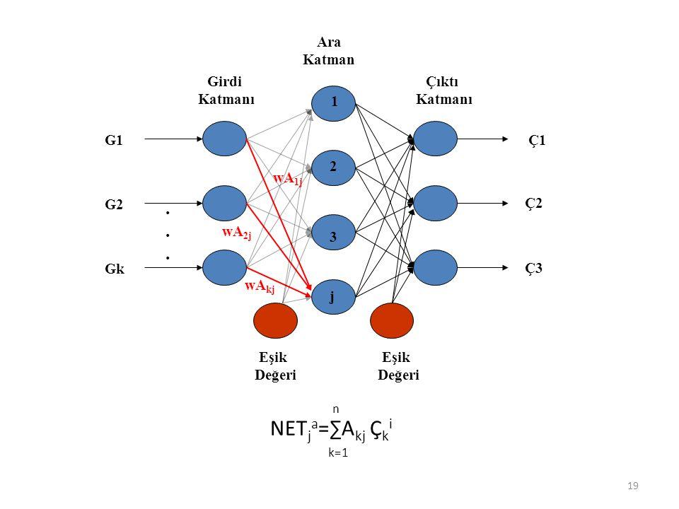 Ara Katman Girdi Katmanı Çıktı Katmanı Eşik Değeri Eşik Değeri G1 G2 Gk Ç1 Ç2 Ç3...... wA 1j wA 2j wA kj NET j a =∑A kj Ç k i k=1 n 1 2 3 j 19