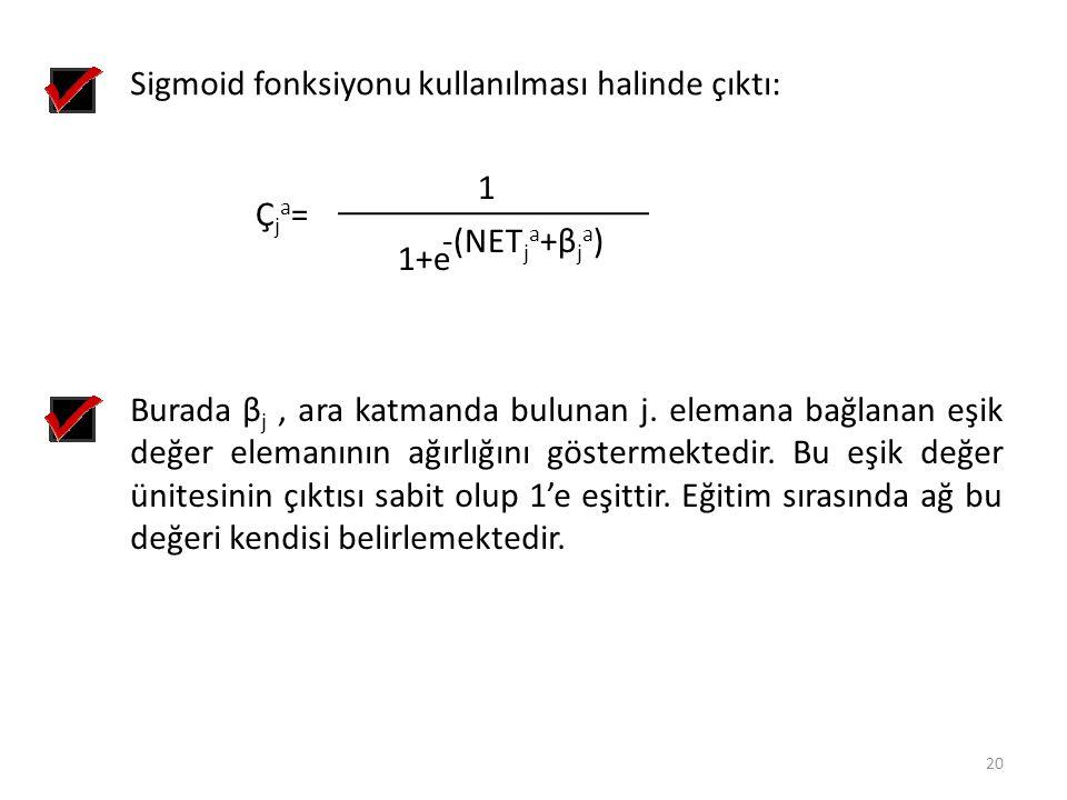 Sigmoid fonksiyonu kullanılması halinde çıktı: Çja=Çja= 1 1+e -(NET j a +β j a ) Burada β j, ara katmanda bulunan j. elemana bağlanan eşik değer elema