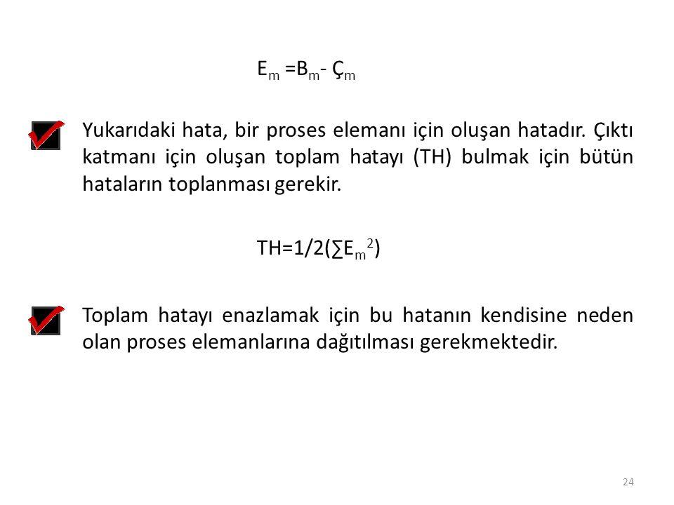 E m =B m - Ç m Yukarıdaki hata, bir proses elemanı için oluşan hatadır. Çıktı katmanı için oluşan toplam hatayı (TH) bulmak için bütün hataların topla