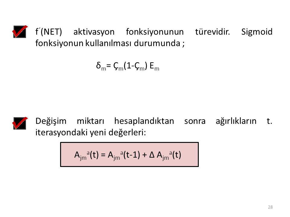Değişim miktarı hesaplandıktan sonra ağırlıkların t. iterasyondaki yeni değerleri: A jm a (t) = A jm a (t-1) + ∆ A jm a (t) f ' (NET) aktivasyon fonks